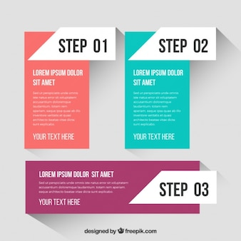 Rectangular infographic steps template