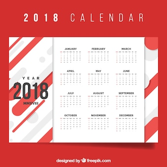 Red 2018 calendar