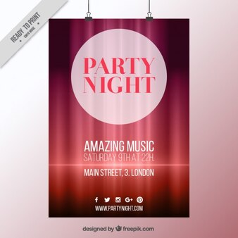 Red abstract and bright party poster