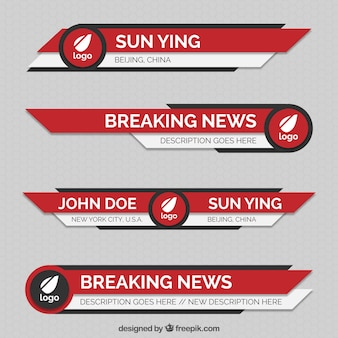 Red abstract lower thirds pack