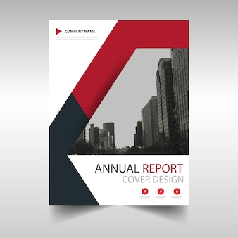 Red abstract modern annual report template