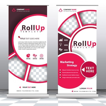Red abstract roll up banners