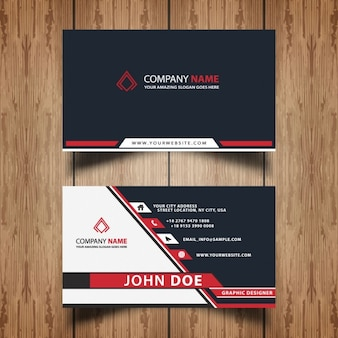 Red adn grey professional visit card