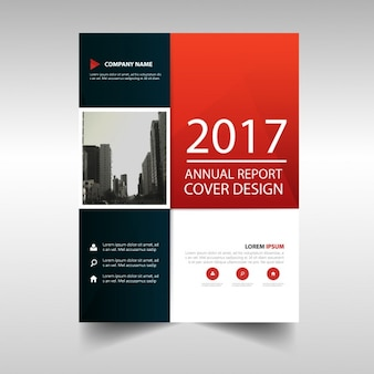 Red and black annual brochure