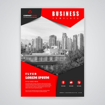 Red and black brochure with buildings