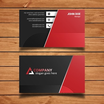 Red and black business card template