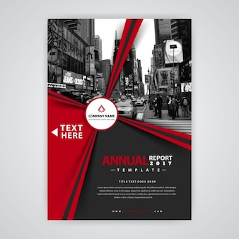 Red and black geometric brochure