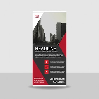 Red and black geometric roll up template