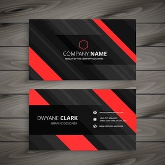 Red and black stripes business card
