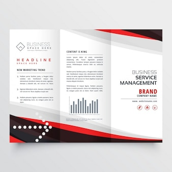 Red and black trifold brochure for your business