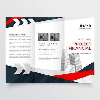 Red and black trifold business flyer design