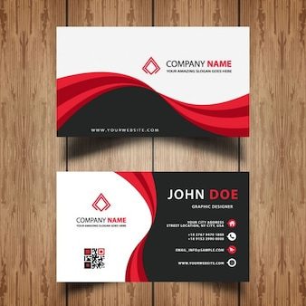 Red and black wavy business card