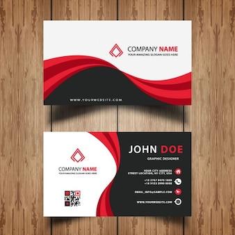 красный и черный волнистый визитная карточка