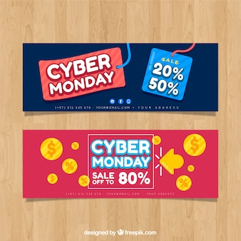 Red and blue cyber monday banners