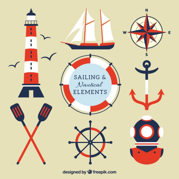 Red and blue sailing elements