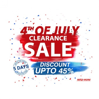 Red and blue sale background for independence day
