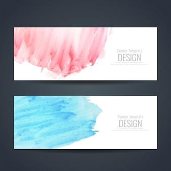 抽象的なカラフルな水彩バナーセット