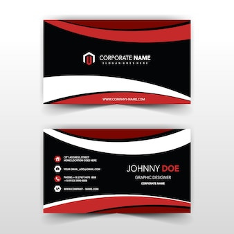 Red and dark wavy visit card