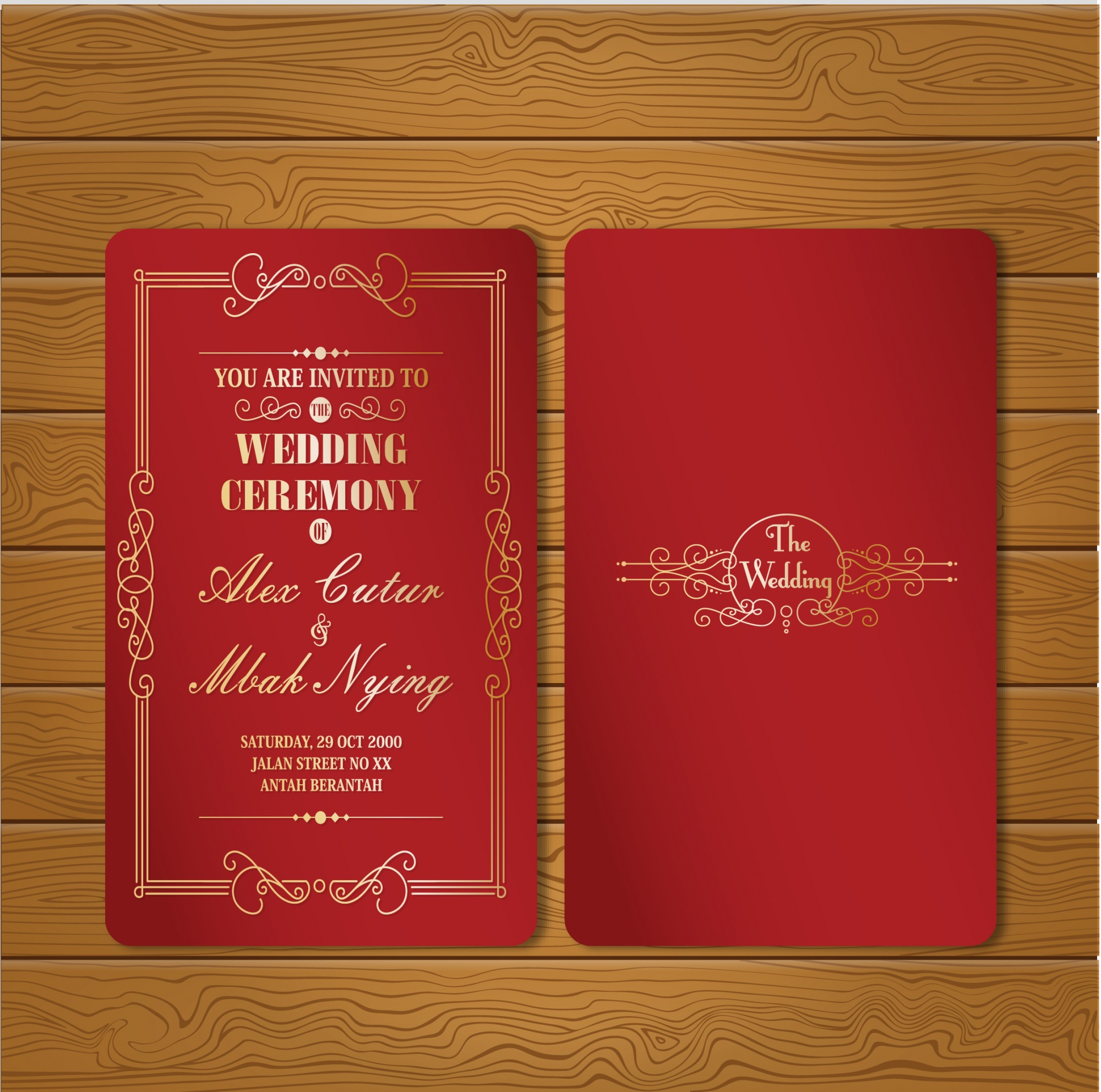 Red and gold wedding card