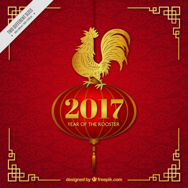 Red and golden chinese new year rooster background