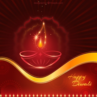 Red and golden Diwali card