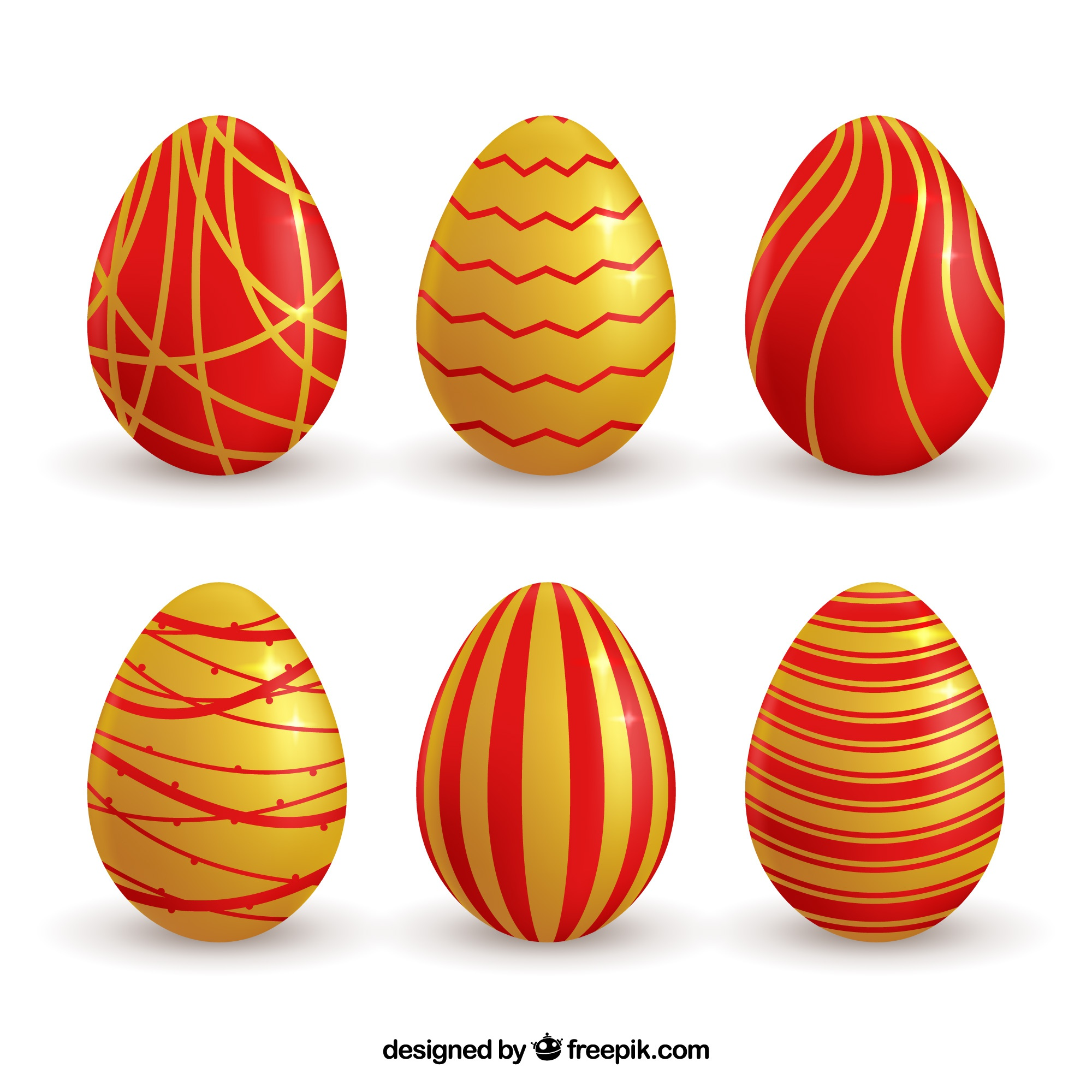Red and golden easter egg collection