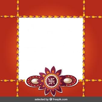 Red and golden Rakhi frame