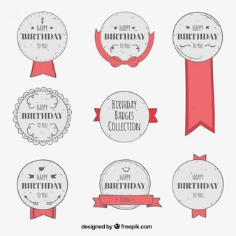 Red and grey birthday badges