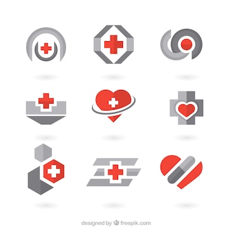 Red and grey clinic logo templates