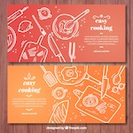 Red and orange cooking banners with white elements