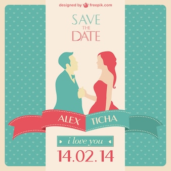 Red and turquoise wedding invitation with the silhouette of a couple