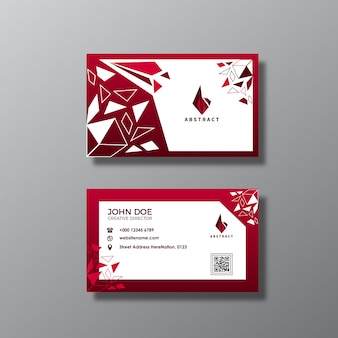 Red and white abstract business card design