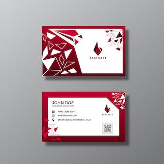 赤と白の抽象的な名刺デザイン