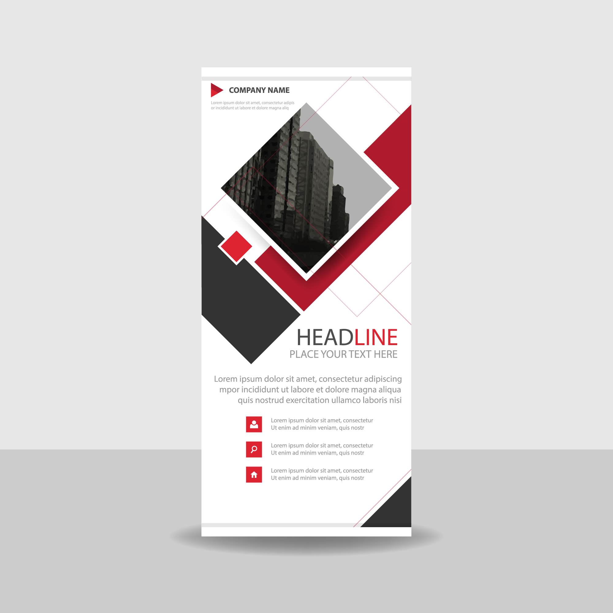 Red and white commercial roll up banner