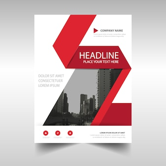 Red and white corporate brochure template