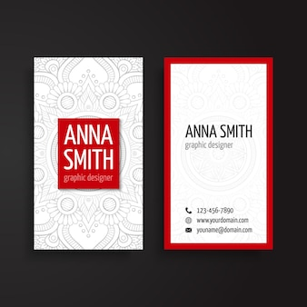 Red and white corporate card with ornaments