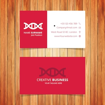Red and white dna business card