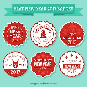 Red and white labels for the new year