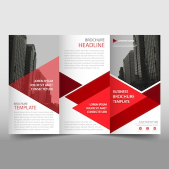 Red and white trifold business brochure template