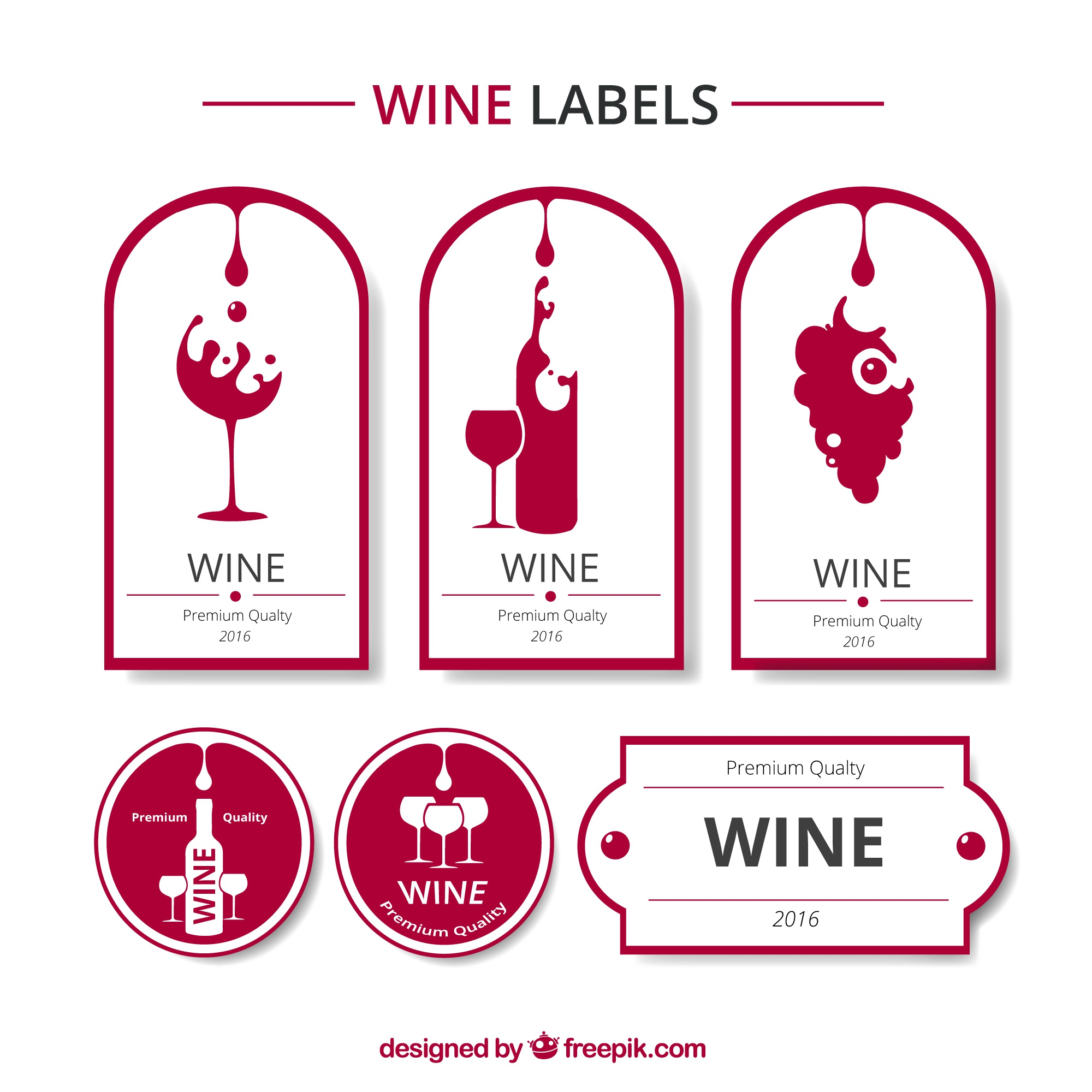 Red and white wine labels collection