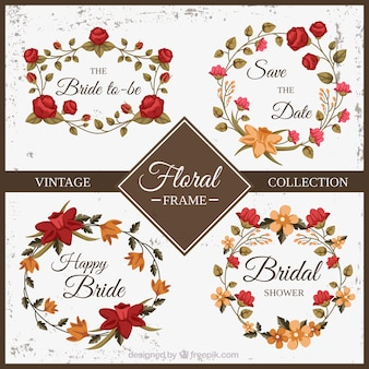 Red and yellow floral frame vintage collection