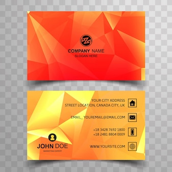 Red and yellow polygonal business card