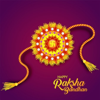 Happy Raksha Bandhanの赤と黄のRakhi。