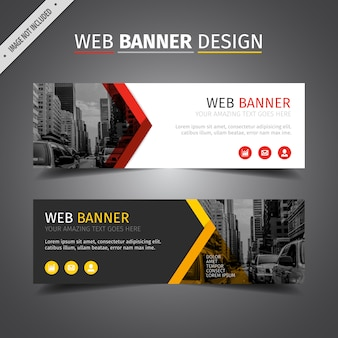 Red and yellow web banner design