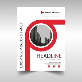 Red annual report book cover template