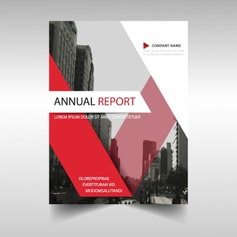 Red annual report cover template