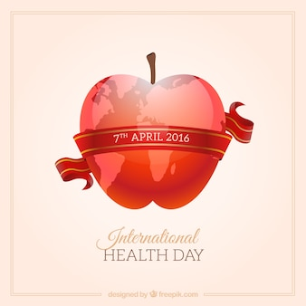 Red apple International Health Day background