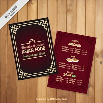 Red asian food menu with a frame