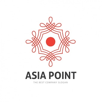 Red asian logo template