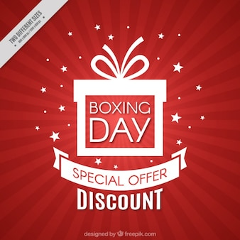 Red background of boxing day discounts
